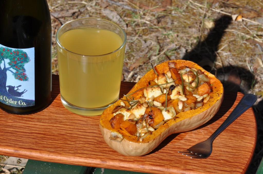 Stuffed butternut and a glass of cider