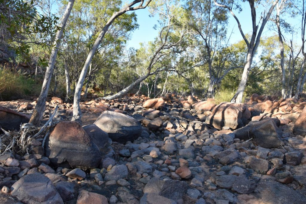 Boulders further upstream